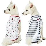 Blueberry Pet Doppelpackung Weich & Angenehm Meerliebhaber Seemann Baumwoll-Mischgewebe Hunde-T-Shirts, Rückenlänge 36cm, Bekleidung für Hunde