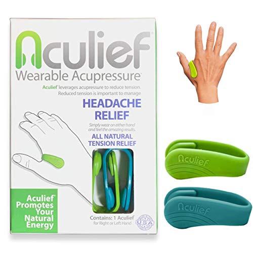 Aculief - Preisgekrönter natürlicher Kopfschmerz, Migräne, Spannungsabbau tragbar - Unterstützung der Akupressurentspannung, Stress, Muskelschmerzen 2 Packung - (Grün/Blaugrün)