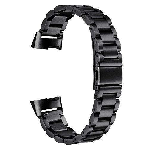 XIALEY Banda De Metal Compatible con Fitbit Charge 3/ Charge 4, Pulsera De Acero Inoxidable Correa De Reloj Pulseras Brazalete para Charge 4 / Charge 3,Negro