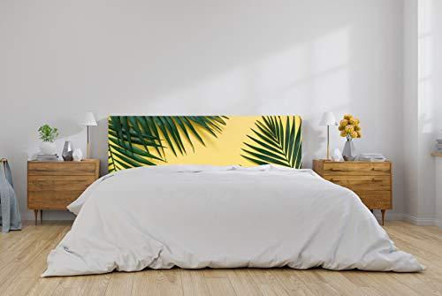 Cabecero Cama PVC Hoja de Palmera Fondo Amarillo 100x100cm   Disponible en Varias Medidas   Cabecero Ligero, Elegante, Resistente y Económico