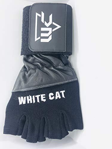 WHITE CAT Guantes Gimnasio para Hombre, Gym Guantes Transpirable con Protección Completa uantes Crossfit para Levantamiento de Pesas, Musculación, Fitness (Negro con Logo, M)