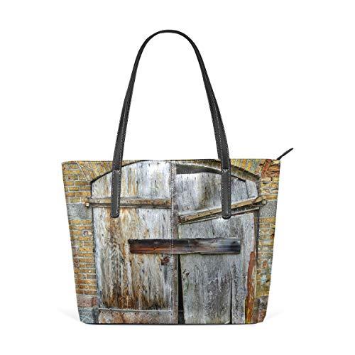 Montoj - Bolso de mano con patrón de puerta de madera vieja