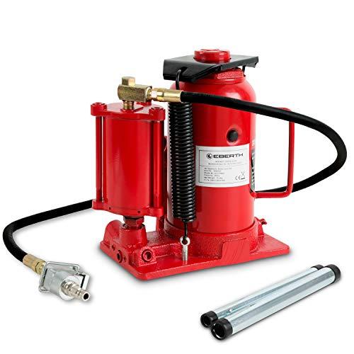 EBERTH 20T Cric a bottiglia (pneumatico, idraulico, 160 mm Altezza di sollevamento, Altezza minima 270 mm, Valvola di sicurezza, Leva a 2 pezzi)