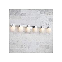 "Possini Euro Modern Wall Light Chrome Hardwired 48.5"" Wide 6-Light Fixture"