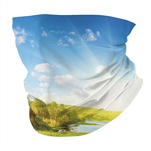 Outdoor Headband Lake House Decor Collection Photo Of A Lake With Horizon In Northern Mountains Exploring Earth Miracles Art Green Blue White Scarf Neck Gaiter Face Bandana Scarf Head Scarf