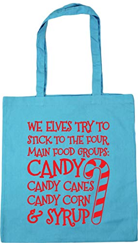 Hippowarehouse We elves try to stick to the four main food groups: candy, candy canes, candy corn, and syrup Tote Shopping Gym Beach Bag 42cm x38cm, 10 litres