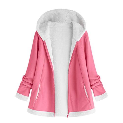 DNOQN Mantel Parka Hoodie Oversize Kurzmantel Damen Mode Winter Tasche Reißverschluss Lange Ärmel Plüsch Kapuzenpullover Mantel