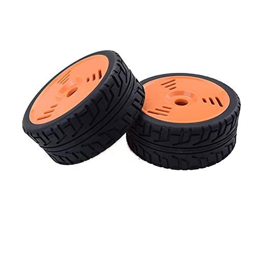 Rendimiento 2PCS RC Car Ruedas de plástico Neumáticos de goma para Redcat HSP HPI Losi Carson Hobao Kyosho Team 1/8 Repuestos para drones de automóvil en carretera (Color: Blanco) (Color: Naranja)