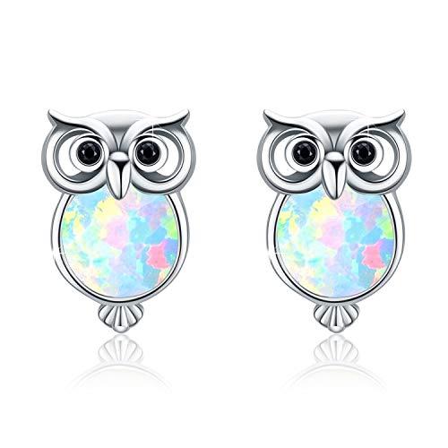 Opal Earrings Owl Earings 925 Sterling Silver Cute Synthetic Opal Stud Earings Gift for Girls Stud Earrings for Women
