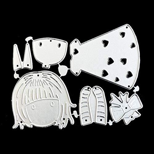 Hemore mignon Dessin animé Fille Coupe Métal Dies Cut Scrapbooking pour la création de cartes Pochoirs DIY Craft