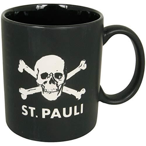 FC St. Pauli Kaffeebecher Tasse Becher Kaffee Aufdruck Totenkopf schwarz matt