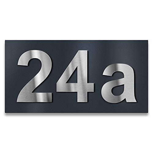 Metzler - Número de casa con efecto 3D – en antracita (RAL 7016) – Materiales inoxidables y resistentes a la intemperie – Incluye material de montaje, Gris