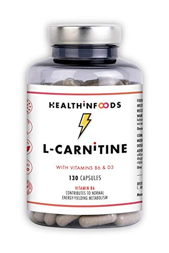 Healthinfoods   L Carnitina   Con Vitaminas B6 y D3   Mejora el Rendimiento Físico   Quema Grasas...