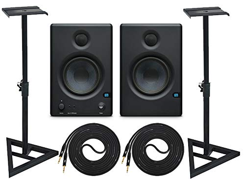 Best Review Of PreSonus Eris E4.5 Pair 2-Way 4.5 Active Studio Monitor Pair and Stands with 2 Cable...