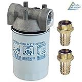 Kraftstofffilter, Dieselfilter mit austauschbarem Filter-Einsatz für Dieselpumpen Kraftstoffpumpe Heizölpumpen Biodiesel Umfüllpumpen plus Messing Schlauchtülle 1' AG