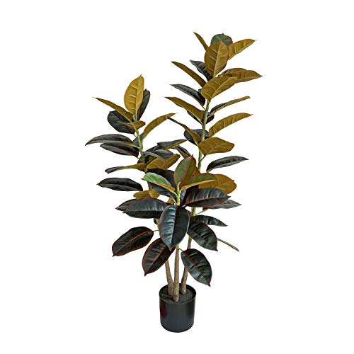 """BESAMENATURE 47"""" Artificial Rubber Tree Plant - Ficus Tree - Faux Tropical Tree for Home Office Decoration, Red"""