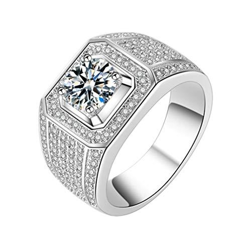 TENDYCOCO Zirkoon Brede Ring Engagement Platina Plating Strass Ring Diamanten Ring Vinger Sieraden voor Mannen Bruidegom Size 7 Picture 1