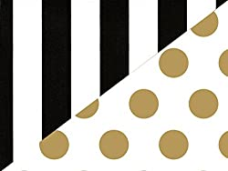 Black White Stripe Gold Polka Dot Reversible Wrapping Paper 15 Foot Roll