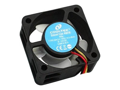 Cooltek 200400230 Silent Fan 4020, 40mm x 40mm x 20mm Lüfter, Rifle-Bearing, 13,5 dBA, 4.000 U/min, 11,5 m³/h, 3-Pin Molex Anschluss