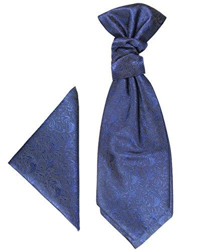Paul Malone Plastron Set 2tlg Plastron mit Einstecktuch blau - Hochzeit Krawatte