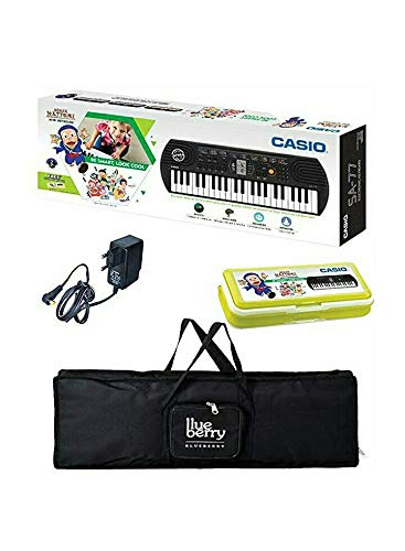 Casio SA-76 Mini Keyboard-44 Keys with Adapter & Blueberry Cover Bag