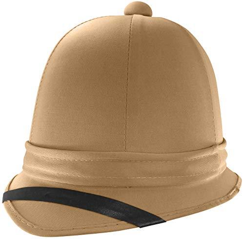 Nicky Bigs Novelties Tall Safari British Pith Helmet Hat, Khaki, One Size
