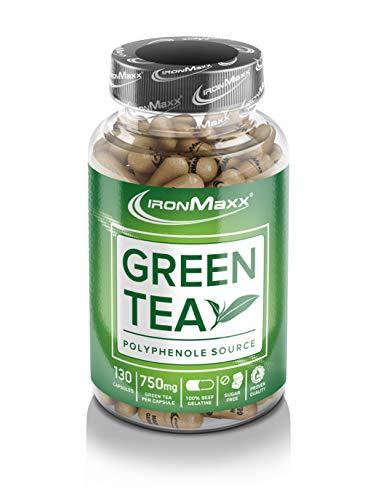 IronMaxx Green Tea – Grüner Tee Extrakt – hochdosiert mit 750mg pro Kapsel und 2250mg pro Tagesdosis – mit Polyphenolen, Catechin, EGCG und Koffein – 130 Kapseln