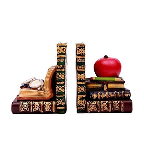 Bokstöd Antik bok-liknande Bookends Classic Library Book Ends Resin Bookshelf Boka stoppar med glasögon och äpple dekorativa Bokhylla dekor