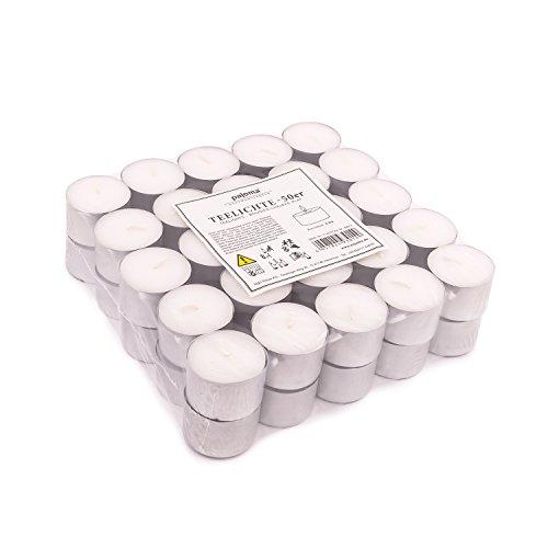 pajoma Teelichter Weiss unbeduftet 50 Stück, 3,8cm Paraffin Brenndauer: 8 Std. Gastro