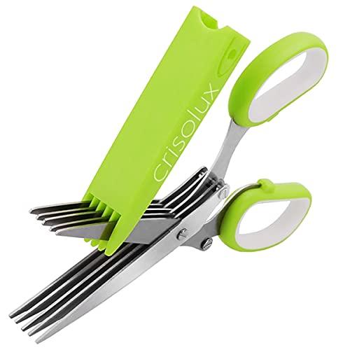 Crisolux Tijeras de Cocina multicorte para Cortar Hierbas Profesional de Acero Inoxidable 5 Cuchillas para Cortar perejil albahaca Cilantro y triturar cebolleta