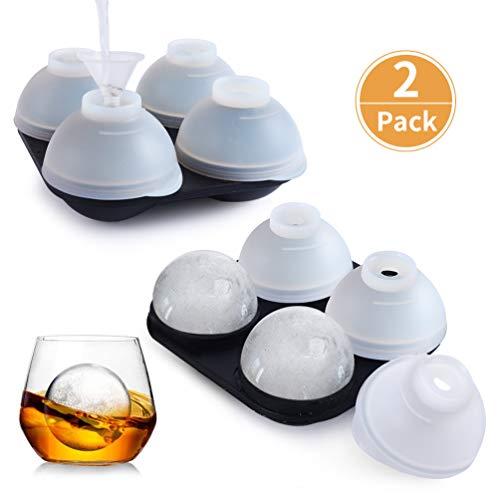 Eiswürfelform Silikon 2 Stück 4Fach 45mm Eiskugelform mit 8Deckel 2Trichter LFGB Zertifiziert und BPA Frei 100% Auslaufsicher Eiswürfelbehälter Ice Cube Tray für Familie Partys Bier Whisky Babynahrung