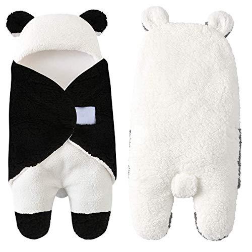 Xuefoo Saco de Dormir para recién Nacidos niño niña Linda Manta Envuelta de vellón Adecuada para 0-12 Meses bebé Modelado de Osito Beige