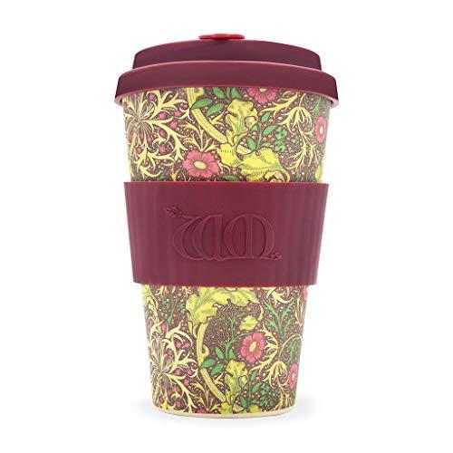 Ecoffee Cup William Morros Kaffeebecher, 400 ml, aus Bambusfaser, mit Seegras-Design, tropfsicherer Deckel und spülmaschinenfest