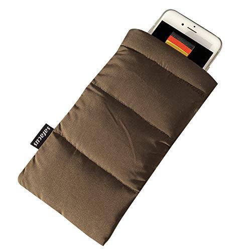 SAFACUS Thermo Handyhülle Tasche Universal Daunen Pouch Handysocke für Handy oder Handykette Winter Handyhülle für iPhone 11 Pro,X, 8,8 Plus 7 7 Plus 6,Samsung Galaxy (Brown)