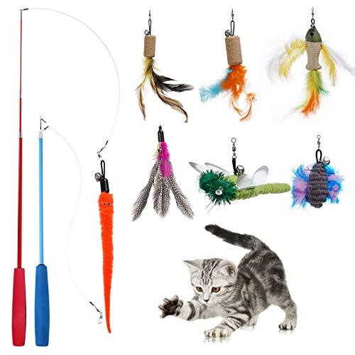 PETTOM Feather Cat Toys Teaser interattivo per Gatti con Campanello Lotto Canna da Pesca per Gatti Toy Duster Canna per Gatti telescopica con Campana (2 canne + 7 Pendenti)