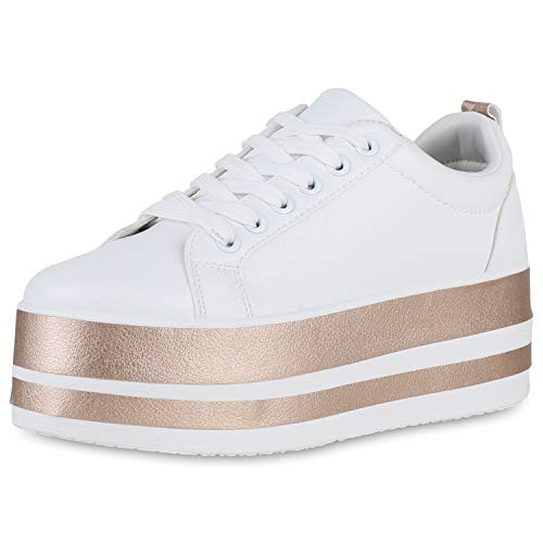 SCARPE VITA Damen Plateau Sneaker Turnschuhe Metallic Plateauschuhe Leder-Optik Freizeit Schuhe Schnürer 191243 Weiss Rose Gold 38