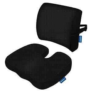 Los cojines del asiento de espuma de memoria CompuClever y el apoyo lumbar brindan alivio para el dolor en la parte…