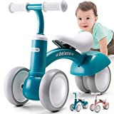 beiens Upgraded Large Baby Balance Bikes, Baby Bicycle for 1 Year Old, Toddler Bike Riding Toys for 10 Months - 36 Months Boys Girls No Pedal 4 Training Wheels Baby First Birthday Gift Bike (Blue)