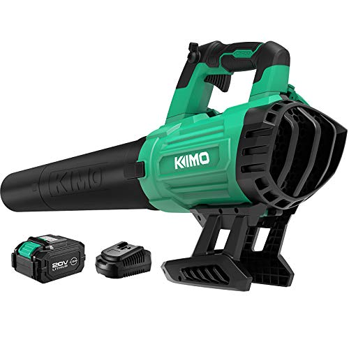 Cordless Leaf Blower - KIMO 400CFM 150MPH Battery-Powered Blower for Blowing Wet Leaves, Snow Debris and Dust, 20V Electric Leaf Blower with Battery and Charger for Garden, Yard, Work Around The House