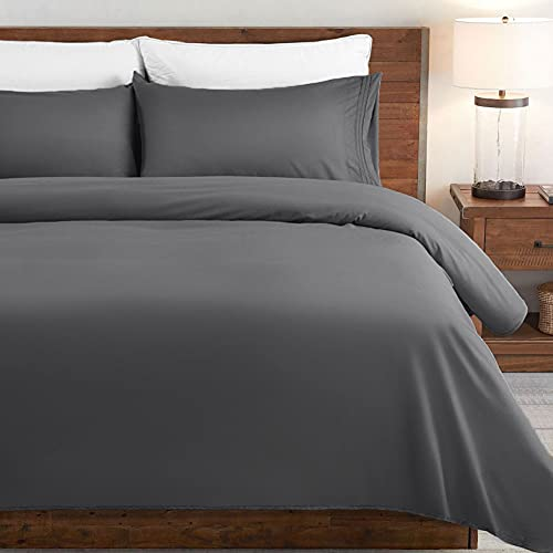 SONORO KATE Bed Sheet Set Super Soft Microfiber 1800 Thread Count Luxury Egyptian Sheets Fit 18 - 24 Inch Deep Pocket Mattress Wrinkle-4 Piece (Dark Grey, Queen)