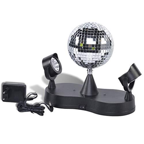Party Fun Lights Disco Spiegelkugel- Durchmesser 13 cm Spiegelkugel mit 2 Spots/16 LEDs und Motor