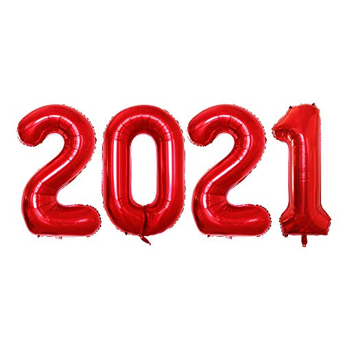 GOER 42 Inch 2021 Red Foil Number Balloons for 2021 New Year Eve Festival Party Supplies Graduation Decorations