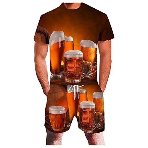 Chándal para hombre de 2 piezas Cauasl Sport Set 3D Beer Tazas Print Running Jogging Athletic Sweatsuit Set