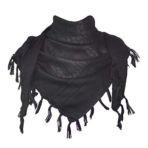 Explore Land Cotton Shemagh Tactical Desert Scarf Wrap (Black)