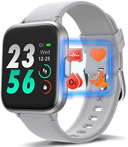 Reloj inteligente deportivo de moda, monitor de actividad física con monitor H-R de oxígeno en sangre, rastreador de sueño con podómetro, contador de calorías para hombres y mujeres (gris)