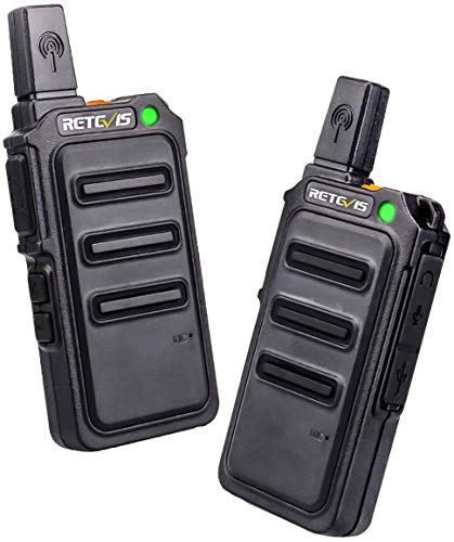 Blanco,1 par Retevis RT45 Walkie Talkie Bateria Recargable PMR 446 sin Licencia VOX Pantalla LCD Retroiluminaci/ón 10 Tonos de Llamada Linterna LED con Bater/ías