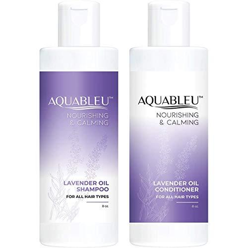 Aquableu Natural Lavender Shampoo & Conditioner Set - Gentle Ultra Calming Multitasking Cleanser - Nourishing & Restorative - Jojoba Oil - Sulfate & Paraben Free - For color treated hair (8 oz)