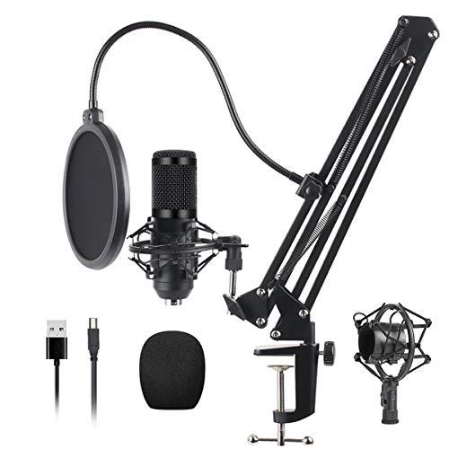 Demosky Professioneller Kondensator Microphone Kit USB-Mikrofon 192KHz / 24Bit PC Mikrofon Studio Cardioid Mic mit Mikrofonständer, Stoßdämpferhalter,Popfilter, für Rundfunk, Aufnahme, Youtube,Podcast