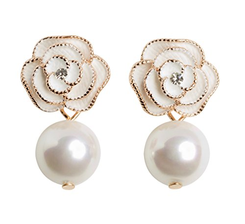 Fashion jewelry misasha designer imitation pearl camellia charm dangle earrings for women (Ivory)