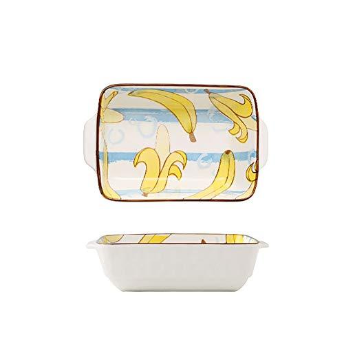 Sarahjers-Home Durable 2 Stück Baked Doppelgriff Käse Gebackene Reis-Backen-Wannen-Schüssel rechteckig Pastateller Keramik Backform Easy Clean (Color : Color F, Size : 22X16X6cm)